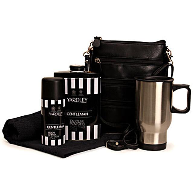 Men In Black-Yardley Gentleman Talc Powder 250 grams,Yardley Body Spray 150ml,Travel Mug 6 inches,Black Travel Bag,Black Hand Towel