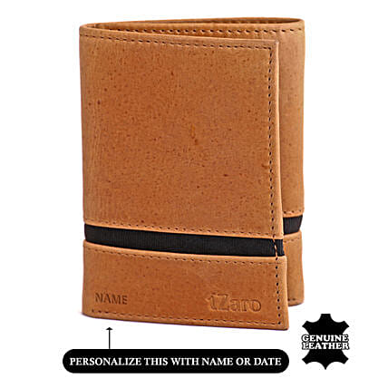 Men's Tri Flod Tan And Blue Wallet:Personalised Leather Gifts