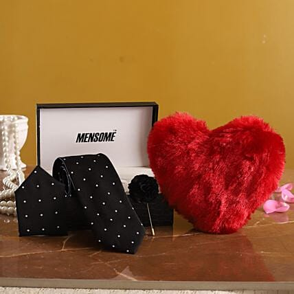 Neck Tie Gift Set with Heart for Him:Soft toys for Propose Day