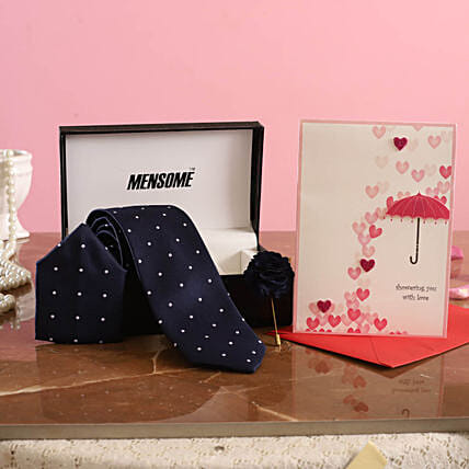 Dotted Blue Tie Set with Love Card for Him:Tie and Cufflinks