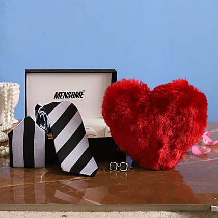 Striped Tie Gift with Heart for Him