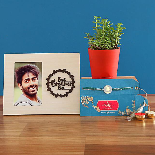 Metal Mickey Rakhi With Jade Plant and Personalised Frame