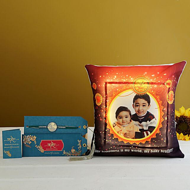 Metal Rakhi & Personalised LED Cushion Hamper