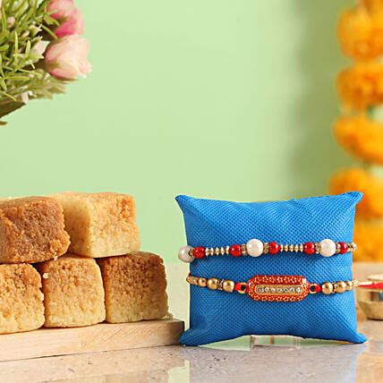 Designer rakhi with milk cake online