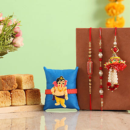Buy Rakhi grand combo with Milk cake online
