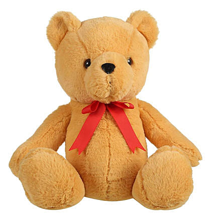 Mirada Brown Bear With Red Bow Soft Toy