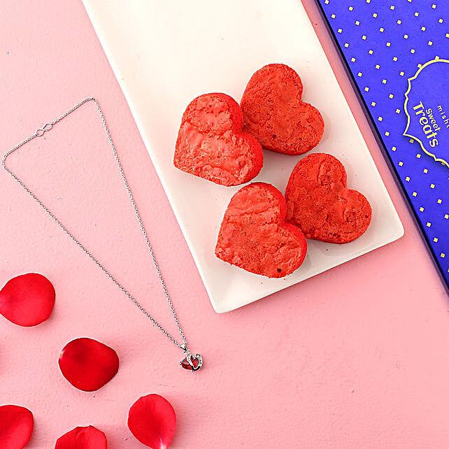 Misht Red Velvet Brownies Heart Pendant