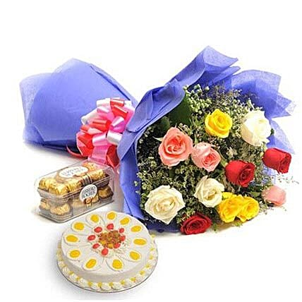 Mix Love Hamper - Bunch of 12 Mix colour roses with 500gm Butter scotch cake and Ferrero rocher.