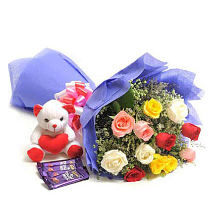 Mix N Match - Bunch of 12 mix colour roses in a paper packing with 5 Dairy Milk Chocolates 14gm each & Cute Soft toy.