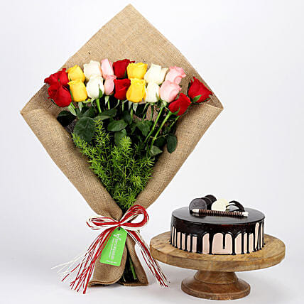 Mixed Roses Bouquet and Choco Cake Online