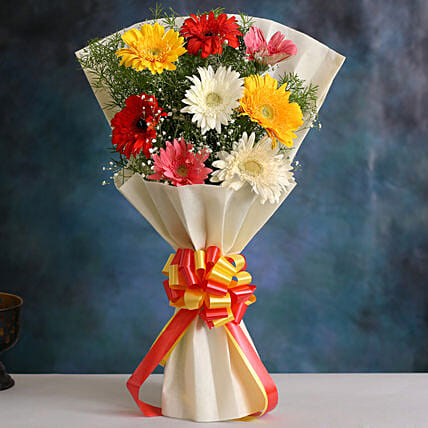 Mixed Brilliance Gerbera Blossoms:New Year Flowers