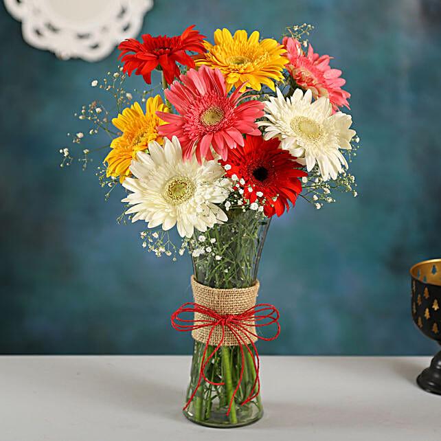 Mixed Brilliance Gerbera Vase:Flowers for Birthday