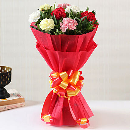Online Mixed Carnations Bouquet:Send Carnations