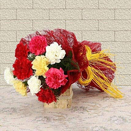 Mixed Colored For Love - Bunch of 10 mix color carnations.:Wedding Gifts to Noida