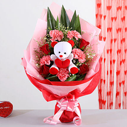 Mixed Flowers Bouquet With Teddy Bear