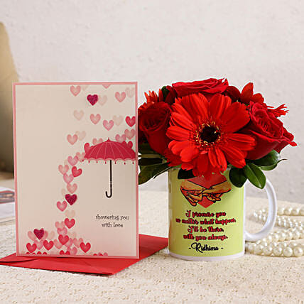 Mixed Flowers In Personalised Mug and Love Umbrella Card:Send Flowers And Card