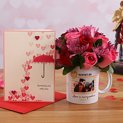 Mixed Flowers In Personalised V Day Mug and Love Umbrella Card