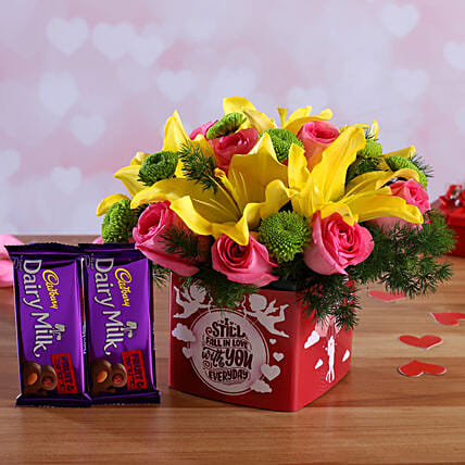 Mixed Flowers In Sticker Vase and Cadbury Fruit N Nut