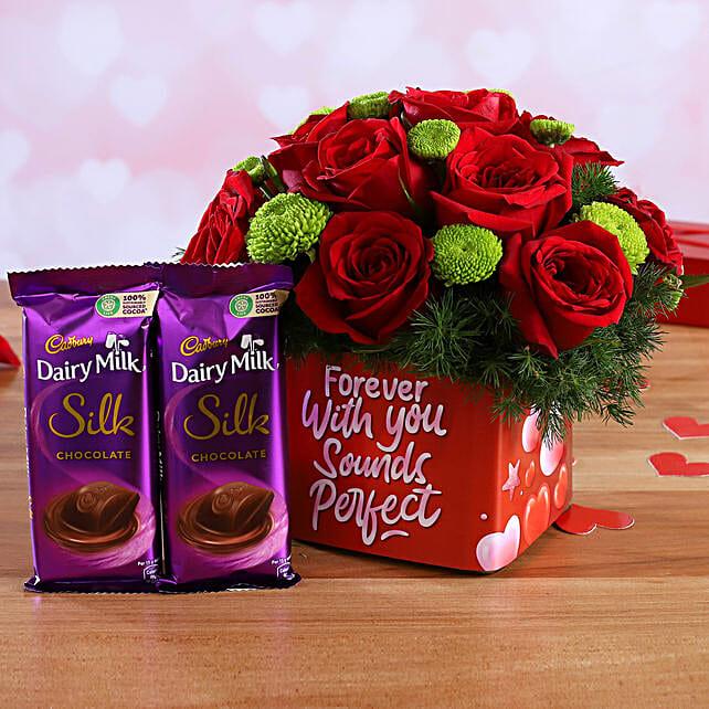 Mixed Flowers In Sticker Vase and Cadbury Silk