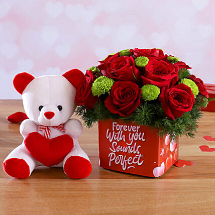 Mixed Flowers In Sticker Vase and Love Teddy:Send Soft toys to Ludhiana