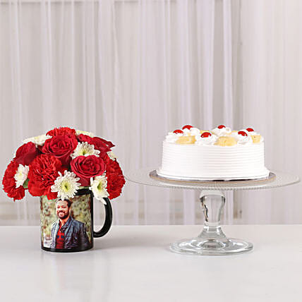 floral combo with printed mug n pineapple cake