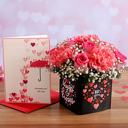 Mixed Pink Flowers In Sticker Vase and Love Umbrella Card:Valentines Day Greeting Cards