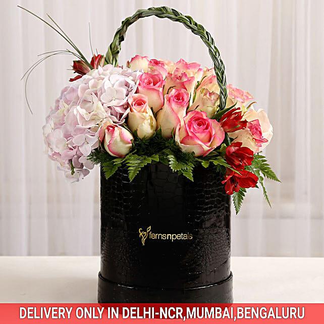 Mixed Roses & Alstroemeria in Black Box