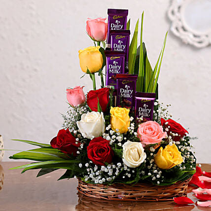 Mixed Roses Arrangement With Dairy Milk Chocolates:Send Chocolate Combo For Valentine's Day
