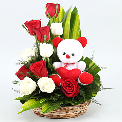 flowers n teddy arrangement combo