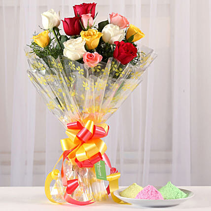 Online Mixed Rose Bouquet With Gulal:Send Holi Colours