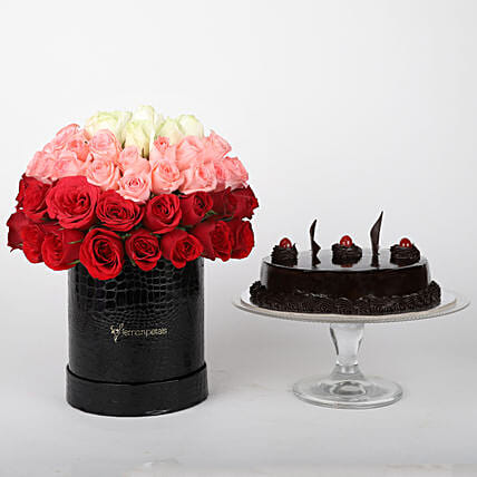 Mixed roses in box & truffle cake online:Send Flowers & Cakes to Jaipur
