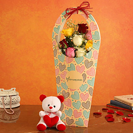 Mixed Roses In FNP Heart Sleeve and Cute Teddy:Soft toys to Lucknow