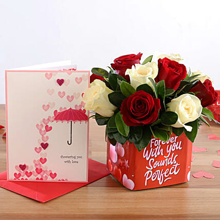 Mixed Roses In Sticker Vase and Love Umbrella Card
