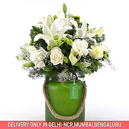 Buy Online Mixed White Flower Jar