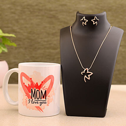 Mom I Love You White Mug And Necklace Set Hand Delivery:Combo Gifts