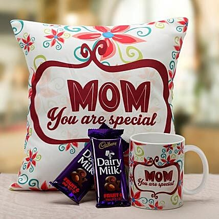 Mom Is Special-1 12x12 inch cushion for mom,1 mug for mom and 45 grams each of 2 dairy milk fruit n nut:Send Mothers Day Gifts to Udupi