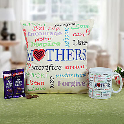 Mom Special Cushion N Coffee-12x12 inches mother special cushion,2 Cadbury Dairymilk chocolates 38 grams each:Send Home Decor for Birthday