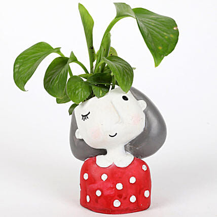money plant in girl shaped pot:Potted Plants