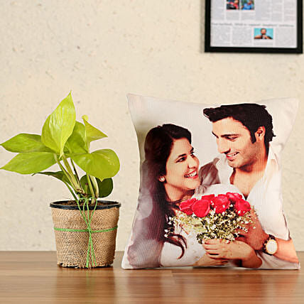 money plant with personalised cushion