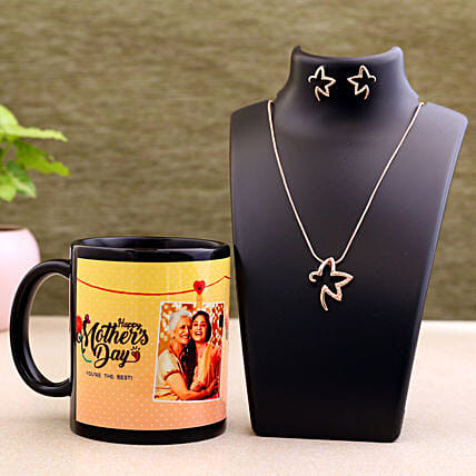 Mother Day Personalised Mug And Necklace Set Hand Delivery