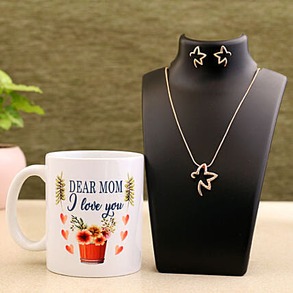 Mother Day Special Mug And Necklace Set Hand Delivery:Gift Combos For Mothers Day