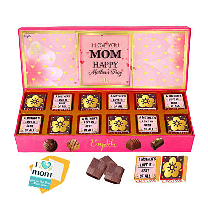Mother Day Special Personalised Chocolates And Greeting Card