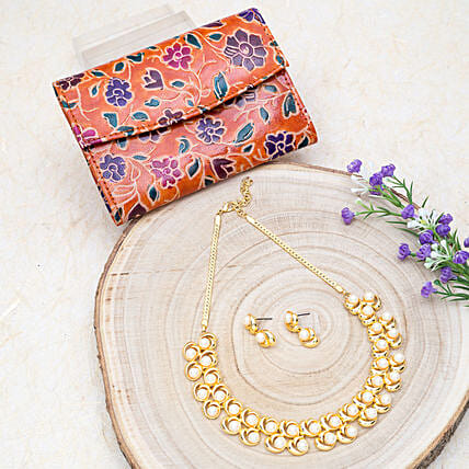 Mothers Day Golden Jewellery Set And 2 Fold Wallet