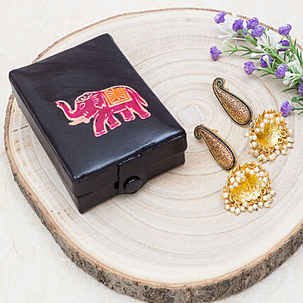 Mothers Day Jhumka Earrings And Handpainted Jewellery Box:Jewellery Gifts