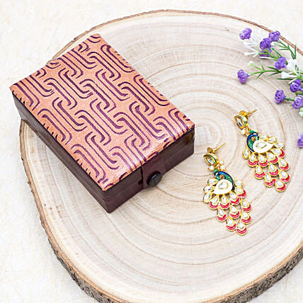 Mothers Day Peacock Earrings And Mosaic Jewellery Box:Send Jewellery Gifts