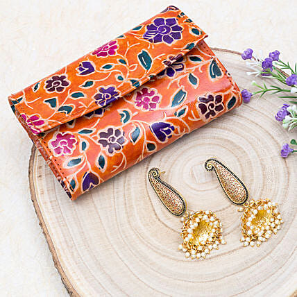 Mothers Day Special Jhumka Earrings And 2 Fold Wallet:Jewellery Gifts