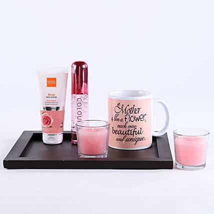 Combo of perfume, scrub, candles, mug and tray:Gift Hampers for Mother's Day