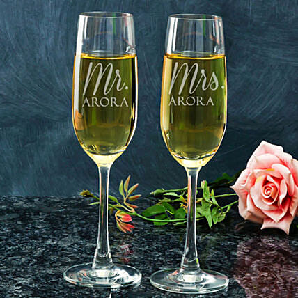 Personalised Champagne Glasses For Couple