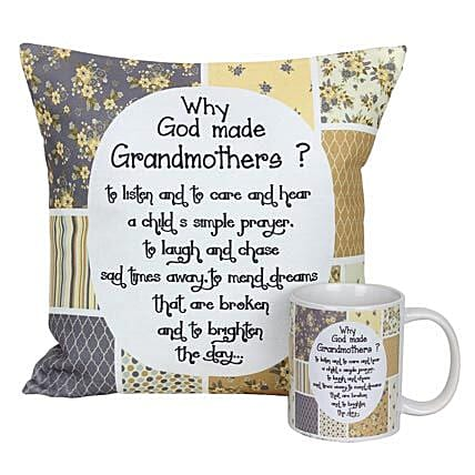 Mug and Cushion For Grandma-White Printed Cushion 12X12 inches,White Printed Mug