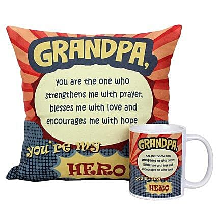 Mug and Cushion For Grandpa-1 Printed Cushion 12X12 inches,Printed Mug with message Grandpa Youre My Hero:Grandparents Day Mugs